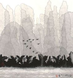 B-sides : Photo Chinese Landscape, Landscape Art, Chinese Painting, Chinese Art, Art Asiatique, Traditional Paintings, Japan Art, Ink Painting, Watercolor And Ink
