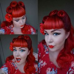 Extreme Red looks good with Victory Rolls ❤ Styling by @laurenloveserik , color is oVertone Extreme Red