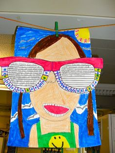 A fun idea for a beginning of the year project: Have students write what they did over the summer on a large pair of sunglasses.