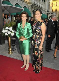 (R-L) Crown Princess Victoria of Sweden and her mother Queen Silvia at the ceremony of the Polar Music Prize to Youssou N'Dour and Kaija Saariaho, 27 Aug 2013 in Stockholm