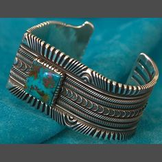 Turquoise Silver Bracelet jewelry by Ron Bedonie