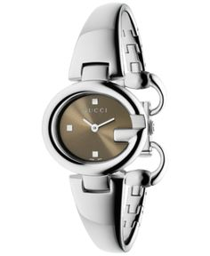 Gucci Womens Swiss Guccissima Diamond Accent Stainless Steel Bangle Bracelet Watch Silver - Gucci Watch - Ideas of Gucci Watch - Gucci Women's Swiss Guccissima Diamond Accent Stainless Steel Bangle Bracelet Watch Silver Gucci Watches For Men, Fine Watches, Women's Watches, Ladies Watches, Stylish Watches, Bangle Bracelets, Bracelet Watch, Bangles, Gucci Jewelry