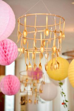 Gold flatware chandelier from a Beauty and the Beast Birthday Party on Kara's Party Ideas Tea Party Birthday, 4th Birthday Parties, Birthday Party Decorations, 5th Birthday, Party Favors, Birthday Ideas, Disney Party Decorations, Birthday Crowns, Beauty And The Beast Diy