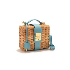 Mark Cross x HVN — Robin Egg Blue Natural Rattan with Fine Italian Pebble Grain Leather And Gold-Plated Brass Hardware. Interior lined with Red Italian Cotton Twill. It Bag, Jeanne Damas, Mark Cross, Jane Birkin, Serge Gainsbourg, Sacs Design, Novelty Bags, Basket Bag, Summer Bags