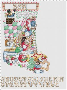 Ginger Bread Mice Stocking Counted Cross Stitch by Berwickbay