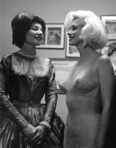 Marilyn Monroe with Opera legend (and mistress of the future husband of Jacqueline Kennedy, Greek shipping magnate, Aristotle Onassis) Maria Callas on Saturday, May 19, 1962 at Madison Square Garden, celebration for the 45th birthday of President John F. Kennedy, at which Marilyn sang Happy Birthday