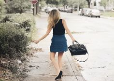 Denim Skirt:Editorial| Black Top:Zara| Pumps:Aldo| Purse:Michael Kors Are you tired of wearing boring business casual attire to work? Not sure of what to wear now that it's fall? Don&#…