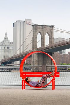 "Whimsical ""Modified Social Bench"" art by Jeppe Hein, at Brooklyn Bridge Park, New York - photo by James Ewing /Public Art Fund, via dezeen Brooklyn Bridge New York, Brooklyn Bridge Park, Architecture Design, Landscape Architecture, Architecture Diagrams, Architecture Portfolio, Urban Furniture, Street Furniture, Furniture Design"