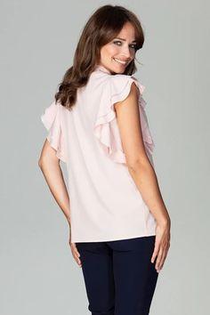 Shirt model 122499 Lenitif – Blushgreece.shop Peplum, Ruffle Blouse, Blouses For Women, Model, Shirts, Tops, Design, Products, Fashion