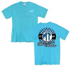 #MTSU #trueblue #comfortcolors #textbookbrokers This stylish MTSU Comfort Colors Tee is made of high quality super soft lightweight comfort colors cotton fabric for the ultimate worn-in comfort feel that gets softer wash after wash. This shirt has a monogram design on back, and Script Middle Tennessee on the front.