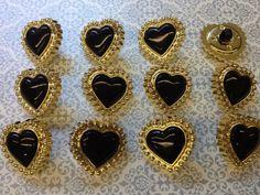 Une douzaine de belles Vintage manche ABS métal plaqué avec du nylon boutons Insérer. La couleur est noir et or. Fabriqué en Italie dans les