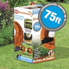 Stretch Hose Automatically Expands up with Water Flow 8 spray nozzle. This stretch hose expands up to with water flow and retracts automatically. It is lightweight, won't kink or tangle. Water Hose, Garden Shop, Water Flow, Make Your Mark, Tangled, Walmart, The Incredibles, Free, Orange