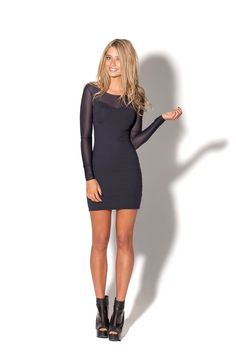 Matte Vs Sheer Long Sleeve Dress - M