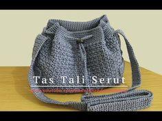 Crochet || Tutorial Tas Tali Serut (Drawstring Bag) - Mini Bean Stitch - YouTube