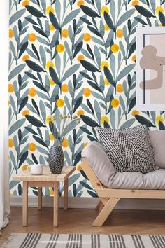 Removable Wallpaper Peel and Stick Leaves Wallpaper Self Decor, Wallpaper Accent Wall, Kitchen Wallpaper, Textured Walls, Removable Wallpaper, Wall Decor, Wallpaper, Floral Wallpaper, Leaf Wallpaper