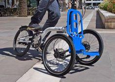 Un vélo qui se démonte en caddie, pour faire les courses. Disponible avec une courroie...