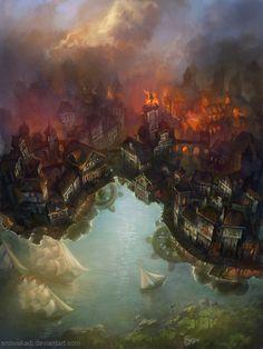 """""""Floating Town"""" by SnowSkadi.deviantart.com on #DeviantArt"""