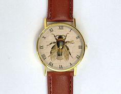 Vintage Honey Bee Watch, Antique Book Plate, Gardening Watch, Unisex Watch, Ladies Watch, Men's Watch, Analog, Gift Idea, Gift for Men