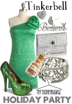 Disney Fairies: Tinkerbell (Holiday Party) inspired outfit by Disneybound at:  http://disneybound.tumblr.com/