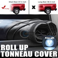ROLL-UP SOFT TONNEAU COVER JR 09-16 DODGE RAM 1500/2500/3500 5.7 FT SHORT BED SB #Champs_Club #LockRollUpVelcroEdgesSealVinylTrunkBed