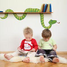 Wandtattoo - Wandtattoo Wanddeko Schlange Dschungel Bücherwurm - ein Designerstück von mauer-bluemchen bei DaWanda