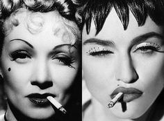 Marlene Dietrich rip off. There are some changes in hair and make up. But, the expression and the cigarette make it obivious.