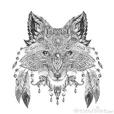 Illustration about Tattoo, portrait of a wild fox in hand-painted in black ink with ethnic ornaments. Illustration of nature, painting, icon - 53388411 Fox Coloring Page, Free Adult Coloring Pages, Colouring, Le Tattoo, Tatoo Art, Wildlife Fotografie, Fuchs Tattoo, Fox Drawing, Illustration