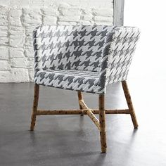 Como Grey and White Woven Chair in Outlet Furniture | Crate and Barrel
