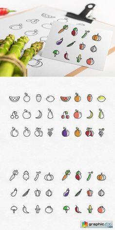 20 Ideas For Fruit Illustration Logo Icon Set Graphisches Design, Buch Design, Icon Design, Logo Design, Fruit Icons, Food Icons, Affinity Photo Tutorial, Fruit Logo, Fruits Drawing