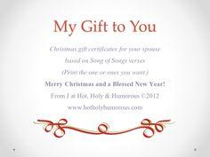 Gift certificate printable for Christmas stockings!