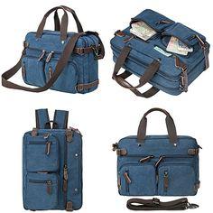 HIKA Vintage 3-Way Convertible Briefcase Laptop Backpack Messenger Bag Backpack-Vintage Blue