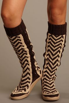Knit Boot Slippers