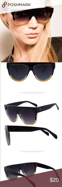Oversized black and tan shades Color: Blue/Tan                                                          Description: oversized ombré frames with tinted lens embellished with gold accents Accessories Glasses
