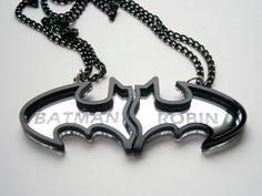 Best Friends Batman Necklaces - Friendship Necklaces - Engraved Batman and Robin - Laser Cut Acrylic- Sale 25 %