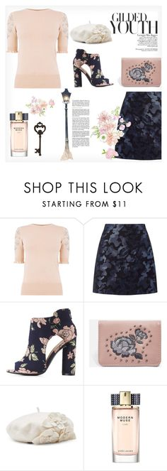 """""""Gilded Youth"""" by fancy-chic ❤ liked on Polyvore featuring Miss Selfridge, Qupid, Topshop, Jagger, Betmar, Estée Lauder and Pier 1 Imports"""