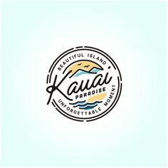 travel logo Kauai hawaii beach stamp logo Premium Ve. Kauai Hawaii, Hawaii Logo, Hawaii Beach, Summer Beach, Vintage Hawaii, Logos Vintage, Vintage Travel Posters, Poster Vintage, Strand Logo
