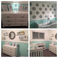 Sooo in love with our gender neutral grey/mint polka-dot nursery! My hubby did such a fantastic job!