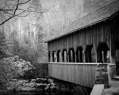 Covered Bridge Photo Black and White Photography by HausofAriella, $12.00