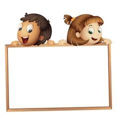 Kids holding wooden frame vector image on VectorStock Kindergarten Bulletin Boards, Frame Download, Groups Poster, Frame Border Design, Wallpaper Iphone Love, School Frame, School Cartoon, Learning Cards, Background Powerpoint