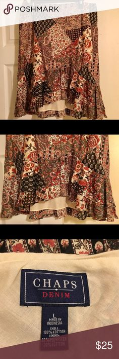 🎉🇺🇸 Day Sale🎉 Chaps Denim Floral Skirt Pretty Soft Chaps Denim Skirt Chaps  Skirts High Low