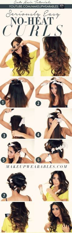 From no heat curls to overnight curls here are The 11 Best Hacks for Curling Your Hair we could find. They're so easy to do, you'll want to curl your hair everyday! Heatless Hairstyles, No Heat Hairstyles, Diy Hairstyles, Pretty Hairstyles, Wedding Hairstyles, Holiday Hairstyles, Easy Hairstyle, Summer Hairstyles, Coiffure Hair