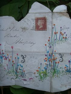 Embroidered Envelope 5 Loooove this! Embroidery Applique, Embroidery Stitches, Journal Inspiration, Collages, Postage Stamp Art, Envelope Art, Fabric Journals, Textiles, Altered Art