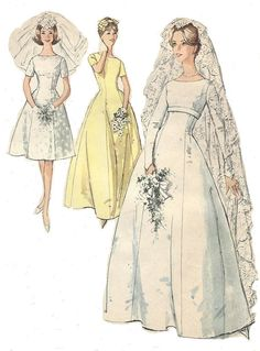 1960s Womens Wedding Gown & Bridesmaid Dresses Princess Seams Simplicity Sewing Pattern 5496 Size 14 Bust 34 UnCut Mad Men Wedding