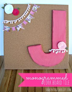 {create this} monogrammed cork board tile at shakentogetherlife.com