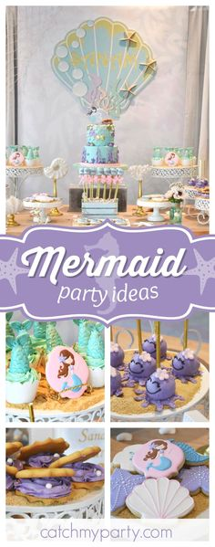 Take a look at this wonderful pastel mermaid birthday party. The cupcakes are gorgeous!! #party #mermaid