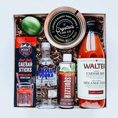 SOLD OUT // Vodka Hail Caesar Father's Day Gift Box Includes:  Beef Jerky Caesar Sticks from MHMT, Walter Classic Craft Caesar Mix, Original Rilly Dilly Rimmer from Crystal's Can Co., Caesar Seasoning from Caesar Squeezer, One Fresh Lime  father's day gift // dad's day gift idea // breakfast gift box // #fathersdaygift #dadsdaygiftidea #vodkahailcaesar Happy Fathers Day, Fathers Day Gifts, Gifts For Dad, Father's Day Breakfast, Hail Caesar, Curated Gift Boxes, Dad Day, You Are The Father, Local Products