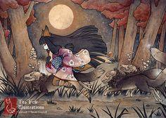 Con monstruos / Kitsune Fox Yokai Japonés estilo asiático / 5 x 7 Fine arte mate grabado