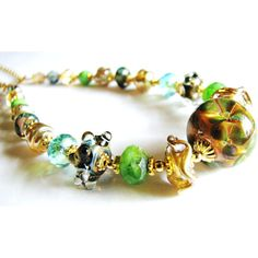 SALE 35% OFF, Green Lampwork Necklace, Gold Vermeil, 14k Gold Filled,... (€62) via Polyvore featuring jewelry, necklaces, green necklace, gold vermeil jewelry, gold filled jewelry, green jewellery and 14 karat gold necklace