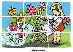 * Puzzel: Bloemen water geven! Plastificeren!
