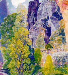 """Hermenegildo Anglada Camarasa (1871 - 1959) """"Árboles junto al Monasterio de Montserrat"""", 1938"""